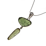 Sterling Silver 2 Moldavite Bezel Necklace