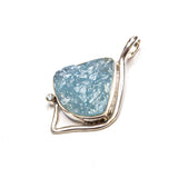SS Triangular Rough Aquamarine Pendant