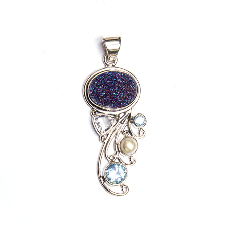 SS Filigree Blue Topaz Gem Cut Rectangle Pendant