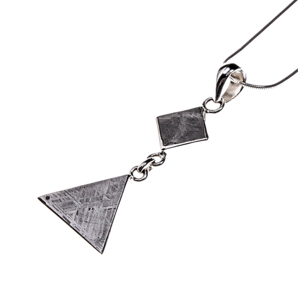 Sterling Silver Meteorite Diamond and Triangle Necklace