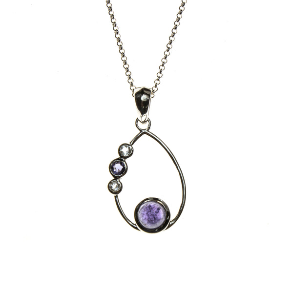 SS Tanzanite, Iolite & White Topaz Cabochons Pear Necklace