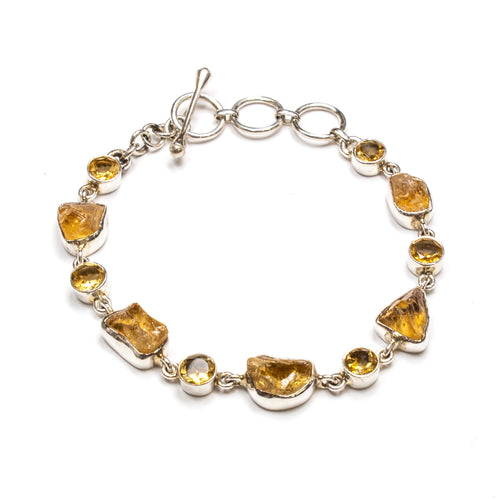 SS Rough & Faceted Citrine Toggle Bracelet