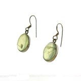 SS Prehnite Cabochon Dangle Earrings