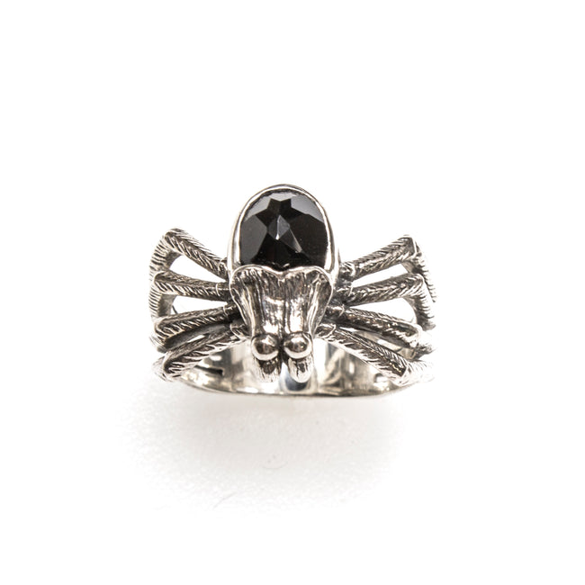 SS Onyx Spider Ring - Size 10