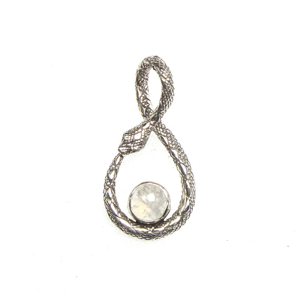 SS Ourobulos Infinity Snake Moonstone Pendant