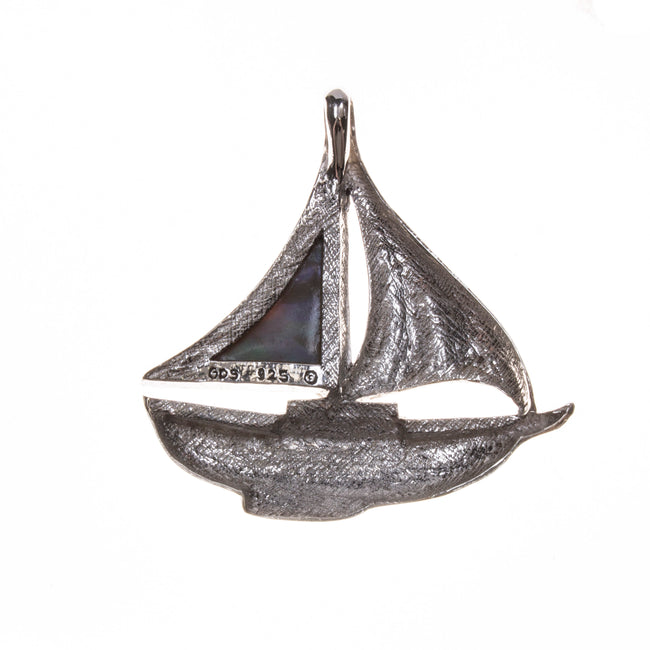 Sterling Silver Large Abalone Sailboat Pendant