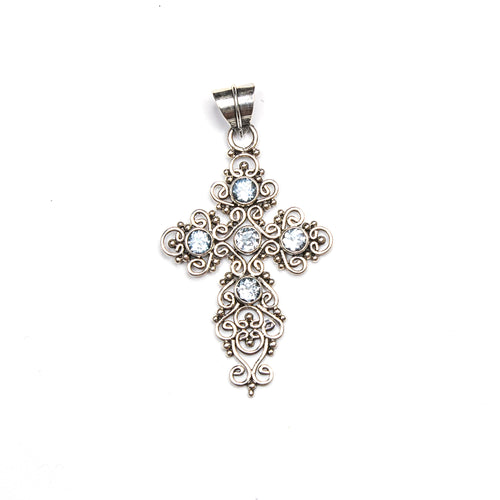 SS Blue Topaz Filigree Cross Pendant