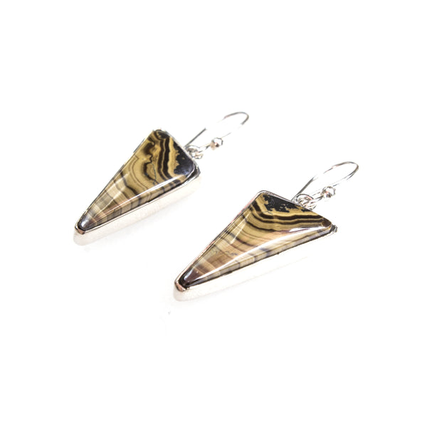 SS Triangle Stromatolite Bezel Earrings