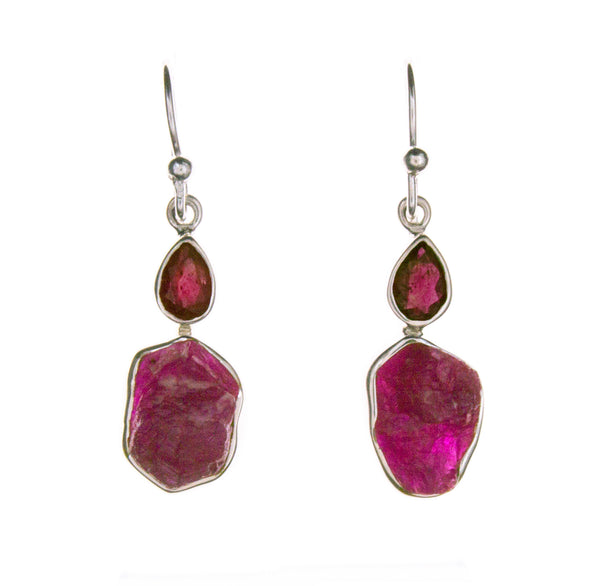 Sterling Silver Ruby Rough and Faceted Earrings