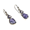 SS Rough & Faceted Tanzanite Earrings