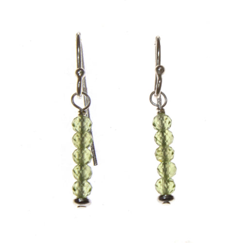 SS Peridot 5 Bead Bar Earrings