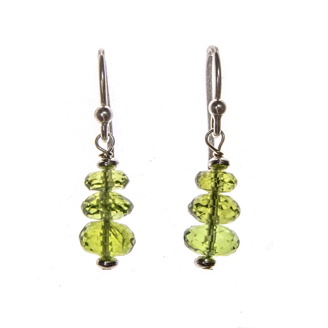 SS Peridot Graduated Bead Bar Earrings
