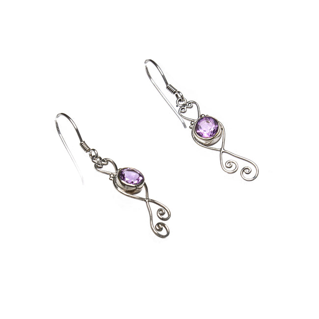 SS Sweet Amethyst Heart Scroll Dangle Earrings