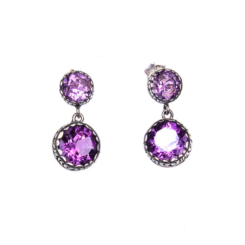 SS Scroll Bezel Amethyst Drop Earrings