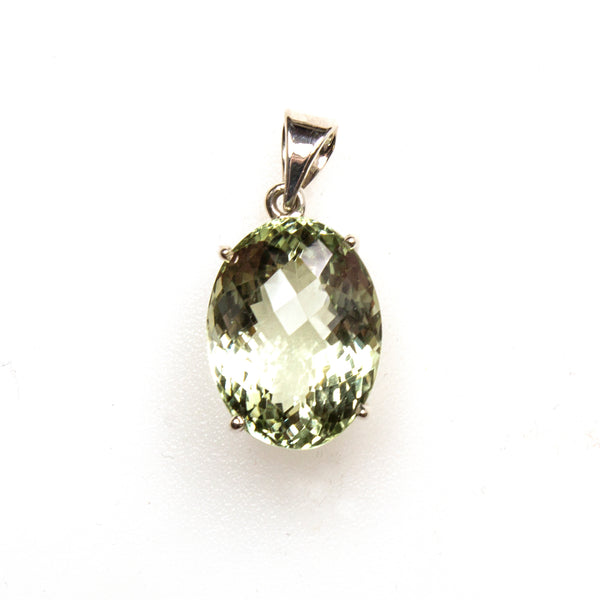 SS Checkerboard Cut Green Amethyst Pendant