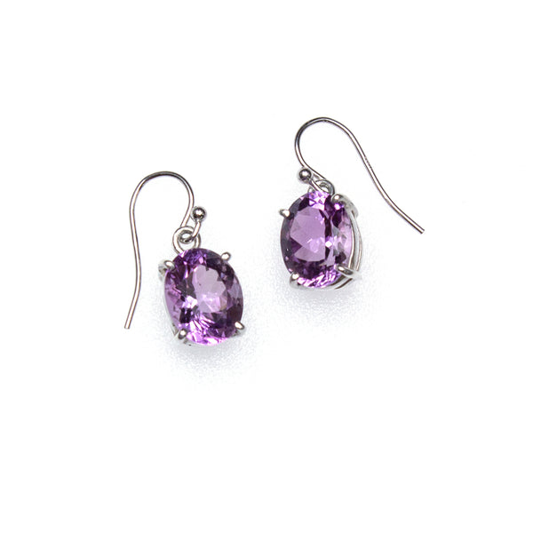 SS Faceted Amethyst Oval Prong Dangle Earrings