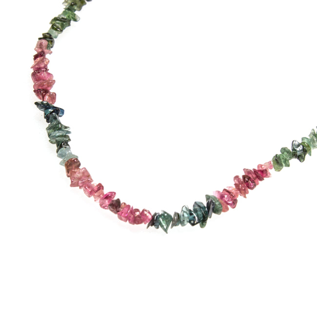 SS Watermelon Tourmaline Chip Bead Necklace