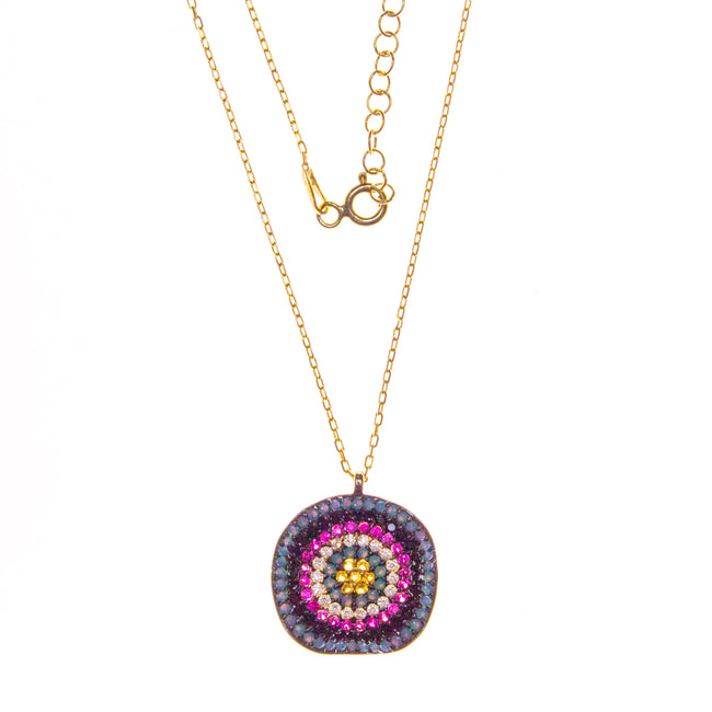 Vermeil Crystal 3D Round Necklace
