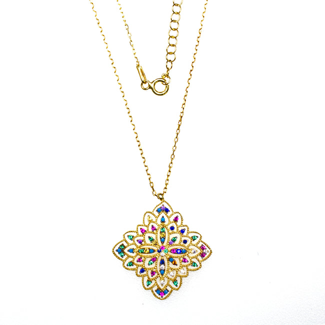Vermeil Crystal Square Necklace