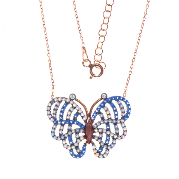 Sterling Silver Rose Gold Plated Crystal Butterfly Necklace