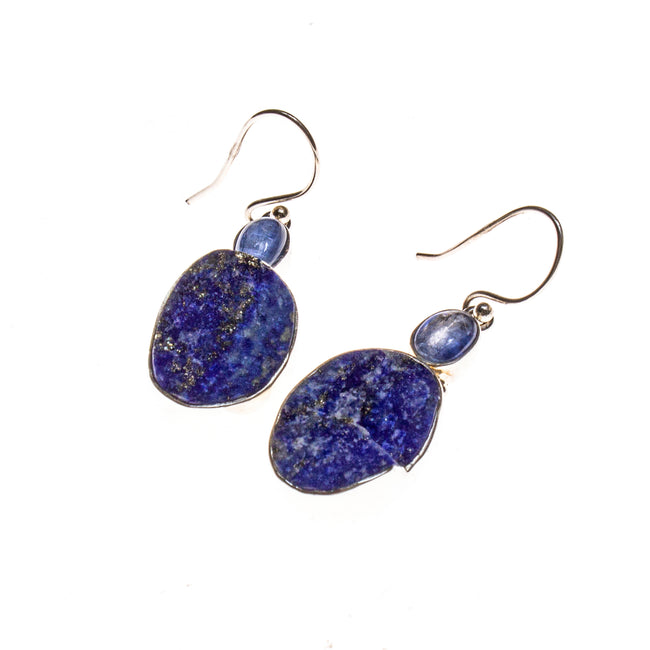 SS Kyanite and Lapis Lazuli Oval Earrings