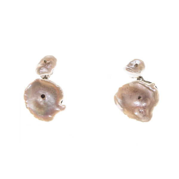Bronze Silverdollar Pearl Post Earrings