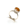 SS Round Citrine w/ Filigree Ring Size 7