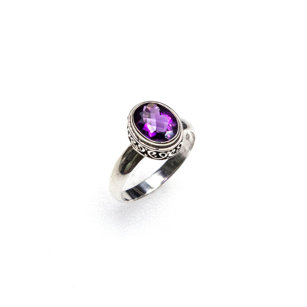 SS Checkerboard Cut Amethyst Oval Scroll Bezel Ring (Size 7)