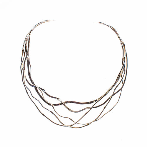 Sterling Silver Wavy Hammered Collar Necklace