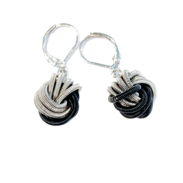 Recycled Piano Wire Knot Earrings in Black & Silver