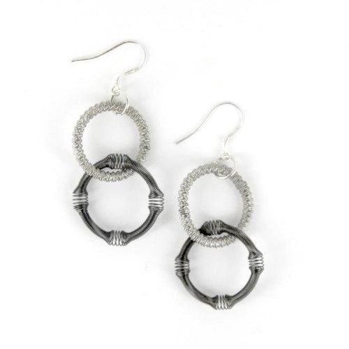Recycled Piano Wire 2 Row Textured Earrings in Silver & Slate