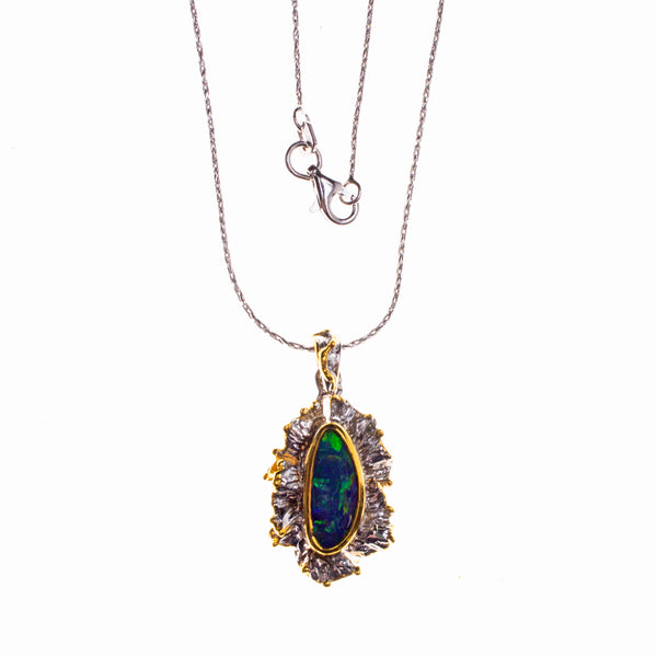 Sterling Silver and 14K Boulder Opal Necklace