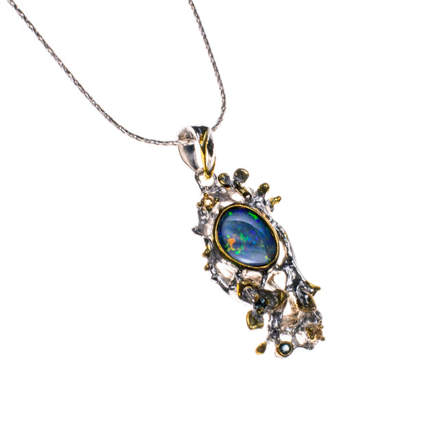Sterling Silver and 14K Boulder Opal Citrine Necklace