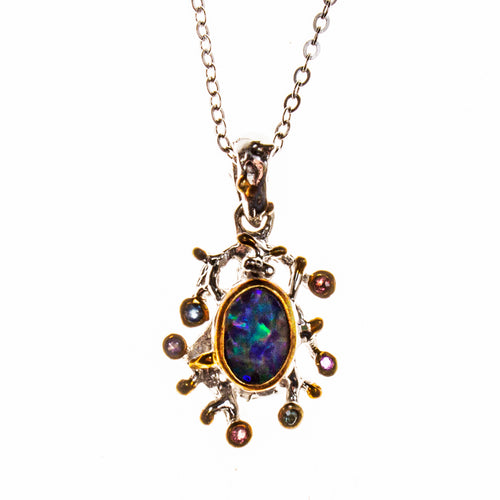 Sterling Silver and 14K Boulder Opal Sapphire Necklace