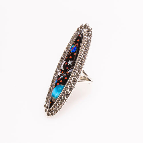 SS Night Sky Long Marquis Inlay Ring Size 8