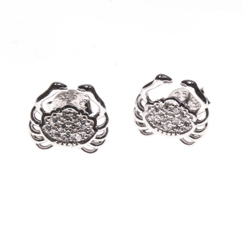 Sterling Silver CZ Crab Stud Earrings