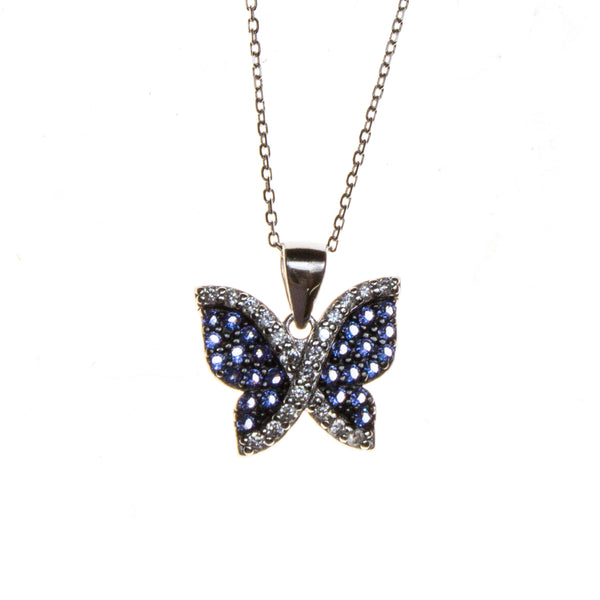 SS Created Sapphire & CZ Butterfly Necklace