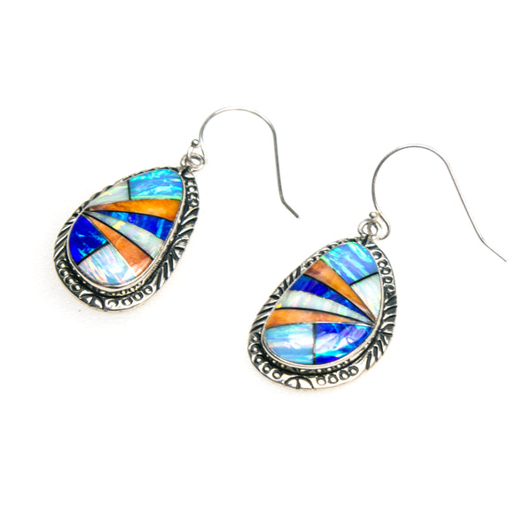 SS Created Opal and Spiny Oyster Shell Inlay Earrings