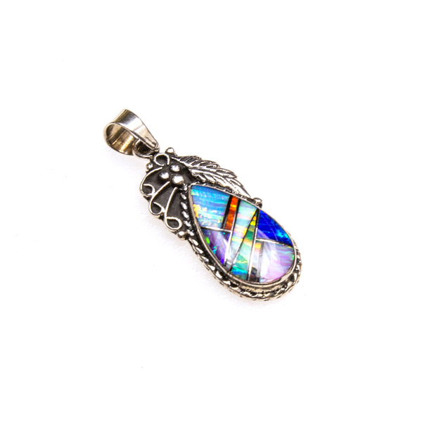 SS Multi-colored Created Opal Inlay Pear W/ Leaf Pendant