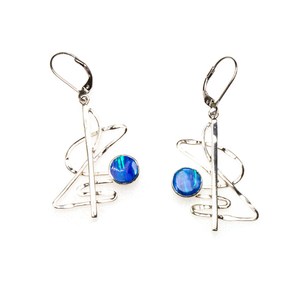 SS Created Opal Circle Scribble Earrings