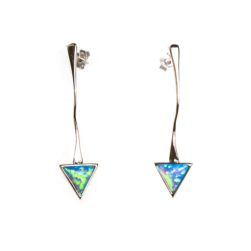 SS Created Opal Arrow Earrings