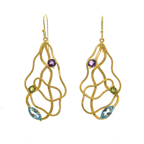 Vermeil Amethyst, Blue Topaz, & Peridot Wavy Matrix Earrings