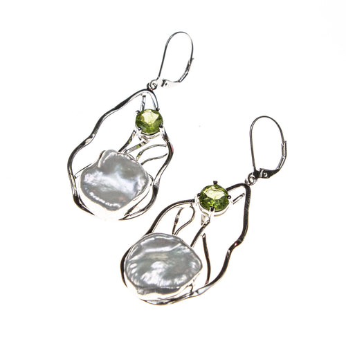 Sterling Silver Pearl Peridot Wavy Earrings