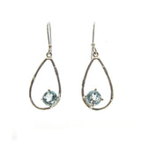 SS Cutout Pear & Pronged Blue Topaz Earrings