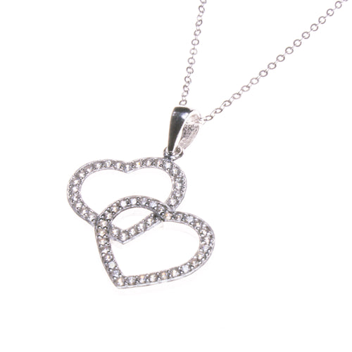 Sterling Silver Cubic Zirconia 2 Hearts Necklace
