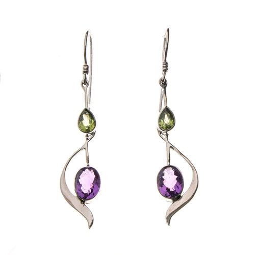 SS Peridot Pear and Amethyst Oval Wave Earrings