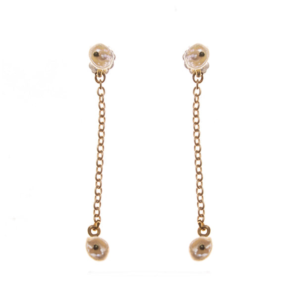 Bronze Dainty Pearl Drop Earrings
