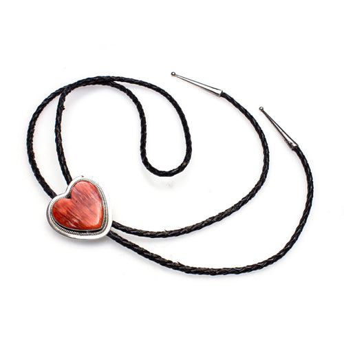 SS Spiny Oyster Shell Heart Bolo Tie