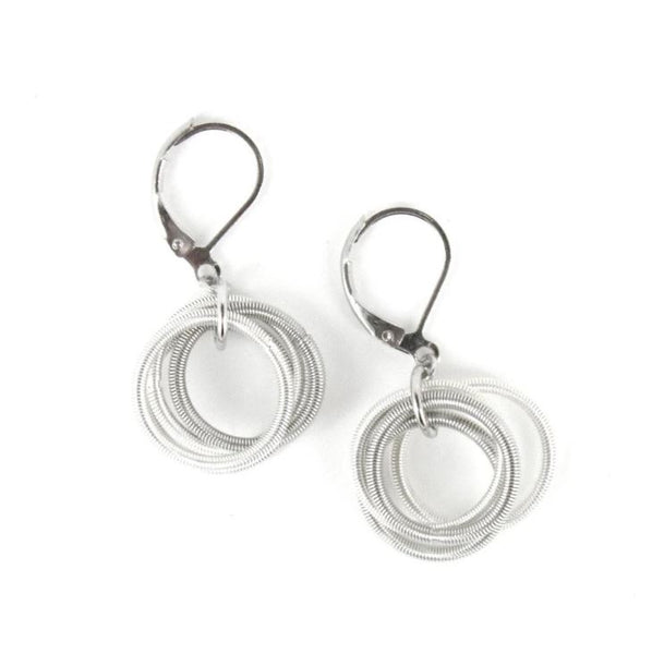 Recycled Piano Wire Loop Earrings in White