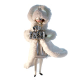 Art Glass Lady Ornament in White with Gifts